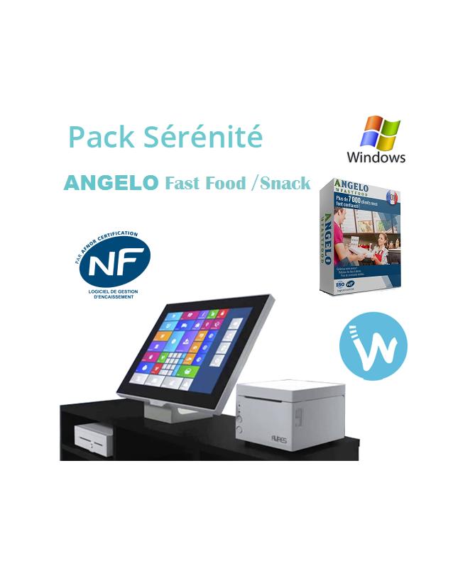 Pack caisse tactile Sérénité + Logiciel de caisse ANGELO Restauration Rapide / fast food