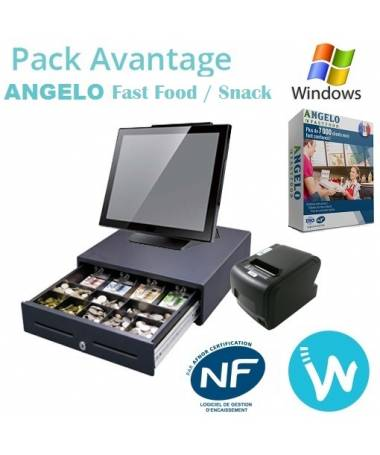 Pack caisse tactile Avantage + Logiciel ANGELO Fast-food